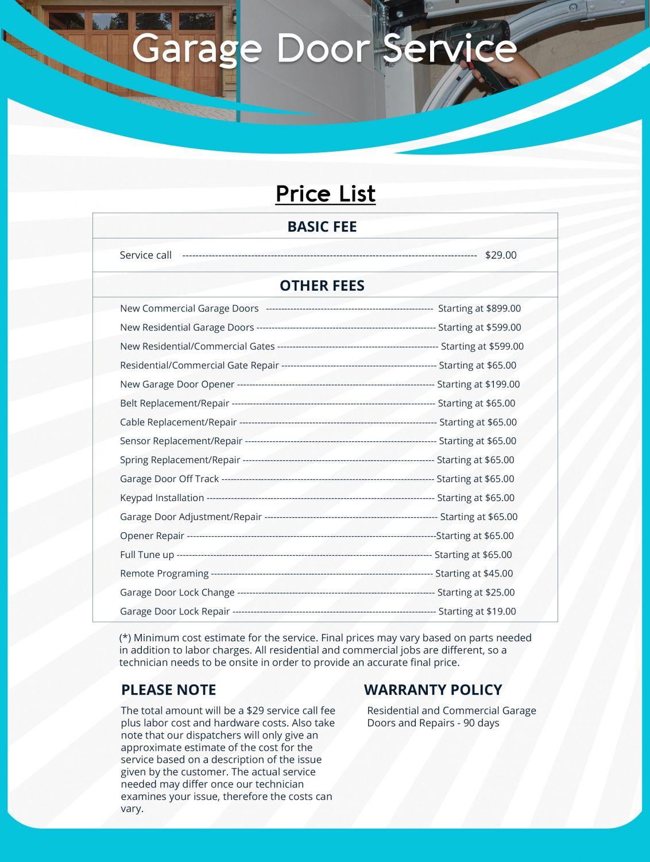 Price List Capitol Garage Door Service
